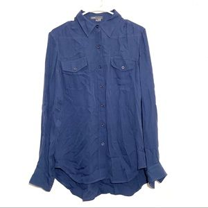 Vince Slate Blue Button Up Long Sleeve Blouse